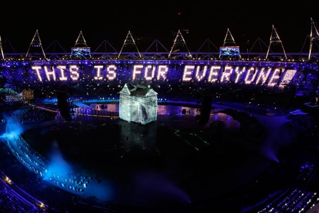 huge letters created by lights in a stadium